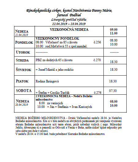 3d3e4c5b5 Farské oznamy - Veľkonočná nedeľa - Oficiální stránky obce Podbiel